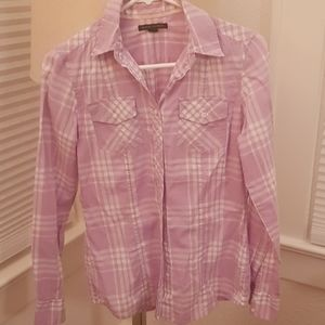 Plaid Lavender/white Banana Republic Shirt XS